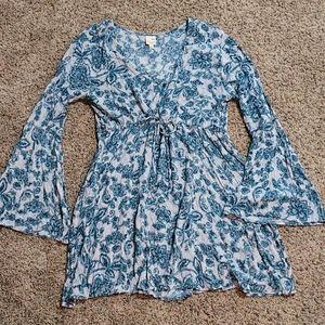 Pink Owl Tie Front Boho Floral Dress